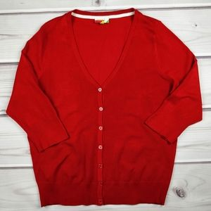 Fervour ModCloth Red 3/4 Sleeve Cardigan